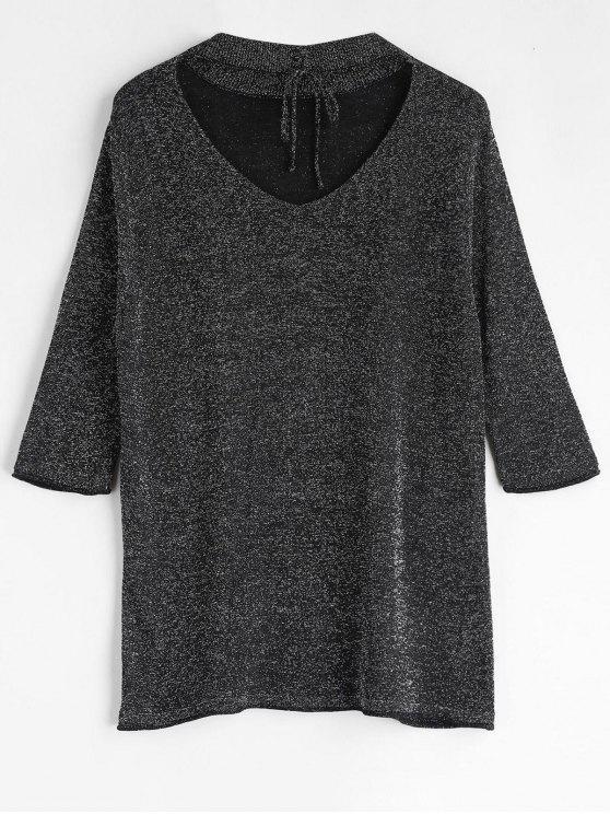 women's Lace Up Glittering Choker T-Shirt - BLACK L