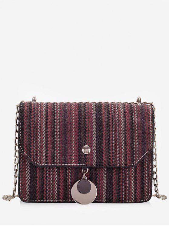 trendy Striped Canvas Chain Crossbody Bag - RED WINE