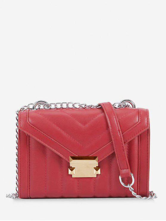 unique Metal Hasp V Pattern Crossbody Bag - RED