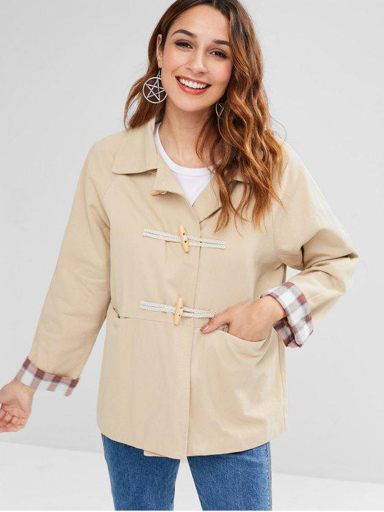 womens Raglan Sleeve Pocket Plaid Panel Jacket - LIGHT KHAKI ONE SIZE