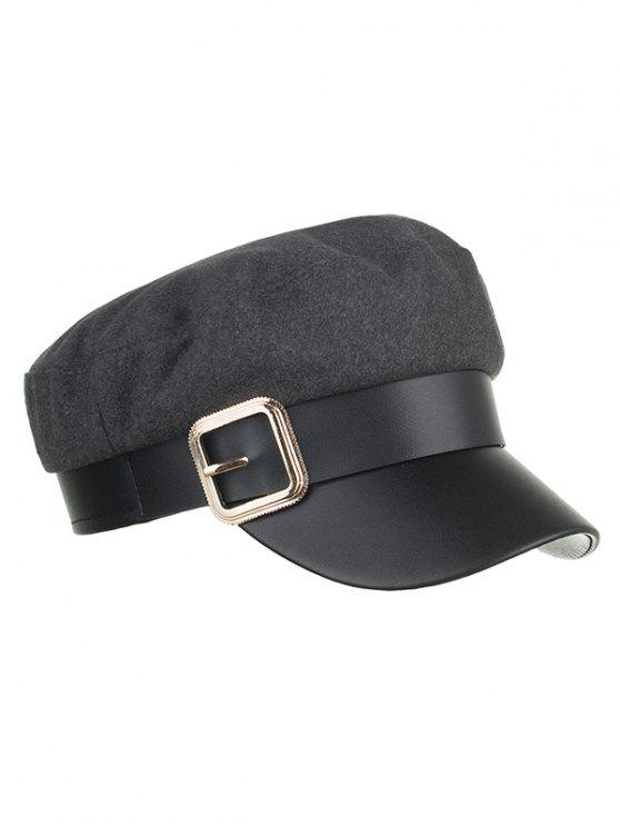 women's Vintage Square Buckle Flat Top Hat - GRAY