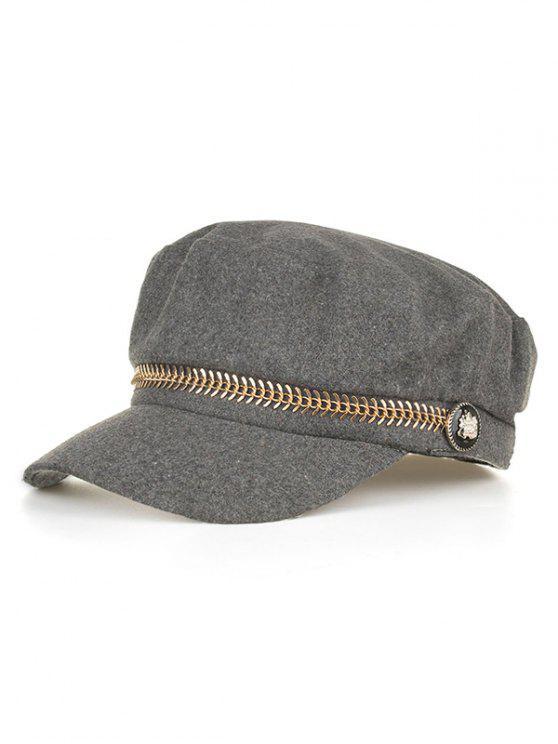 زر معدني شقة القبعة - اللون الرمادي