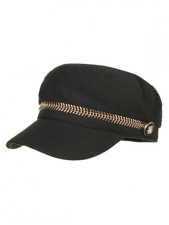 Chapeau plat à bouton en métal - Noir