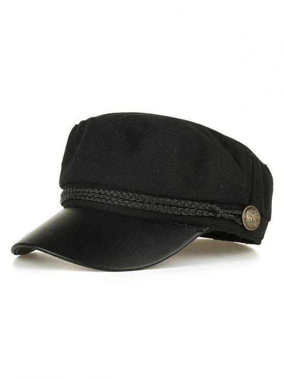 fancy PU Leather Braided Band Military Hat - BLACK