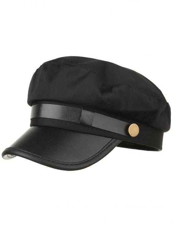 unique Solid Color PU Leather Army Hat - BLACK