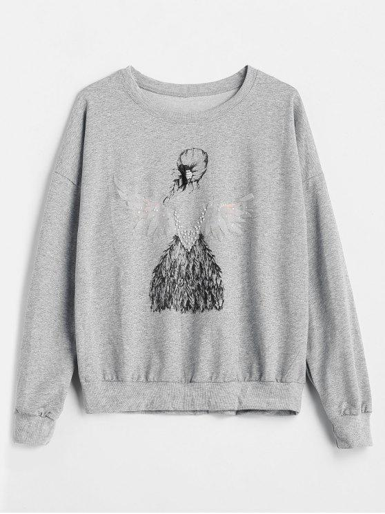 womens Faux Pearl Girl Print Sweatshirt - GRAY ONE SIZE