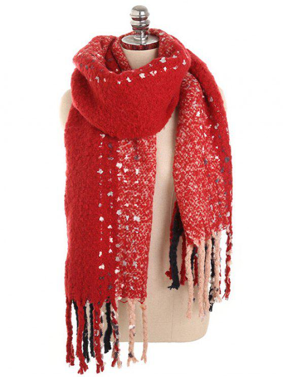 women's Vintage Long Fringed Winter Shawl Scarf - RED