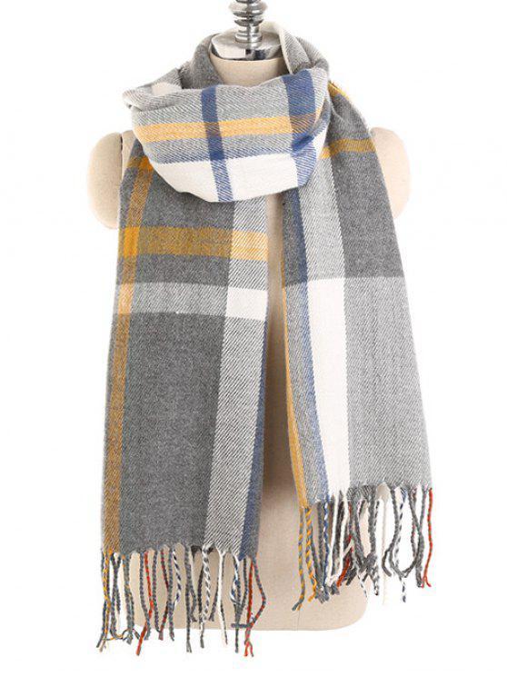 Vintage color empalme invierno largo bufanda - Gris