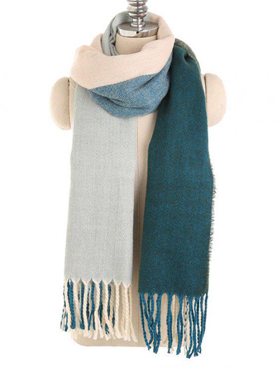 Lenço longo do inverno da tala da cor do vintage - Azul-Esverdeado