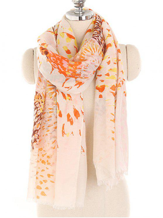 outfit Blooming Floral Lightweight Shawl Scarf - DEEP PEACH