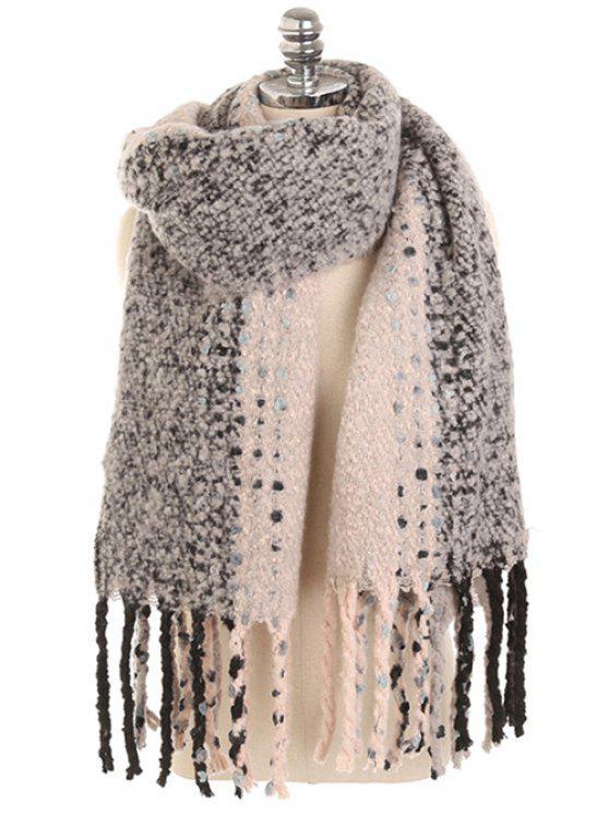 trendy Vintage Long Fringed Winter Shawl Scarf - GRAY CLOUD