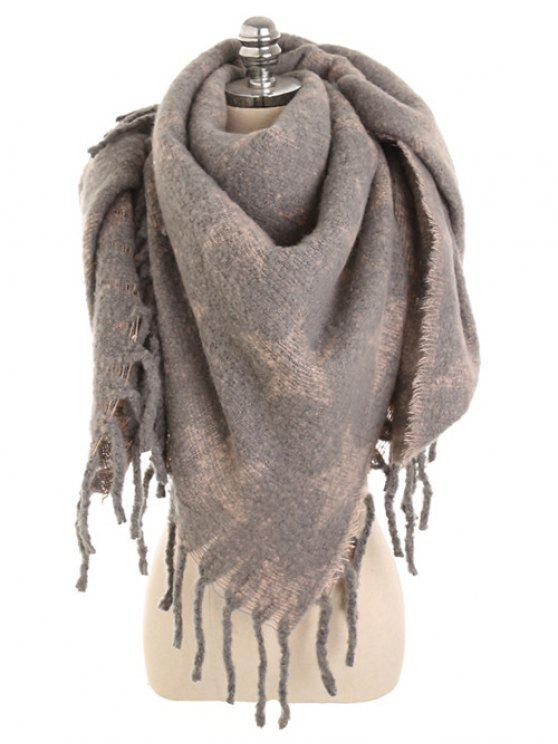 fashion Winter Star Fringed Long Scarf - KHAKI ROSE