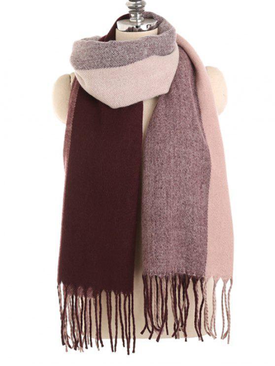 Vintage color empalme invierno largo bufanda - Vino Tinto