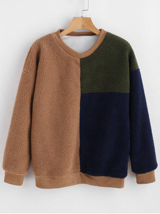 trendy Faux Fur Color Block Teddy Sweatshirt - MULTI ONE SIZE
