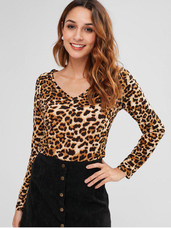 Camiseta con cuello en v leopardo - Leopardo M