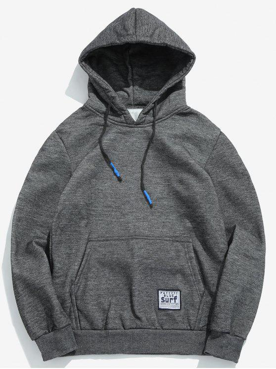 fancy Solid Pouch Pocket Fleece Hoodie - DARK GRAY L