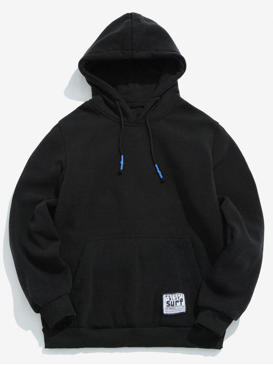 affordable Solid Pouch Pocket Fleece Hoodie - BLACK L