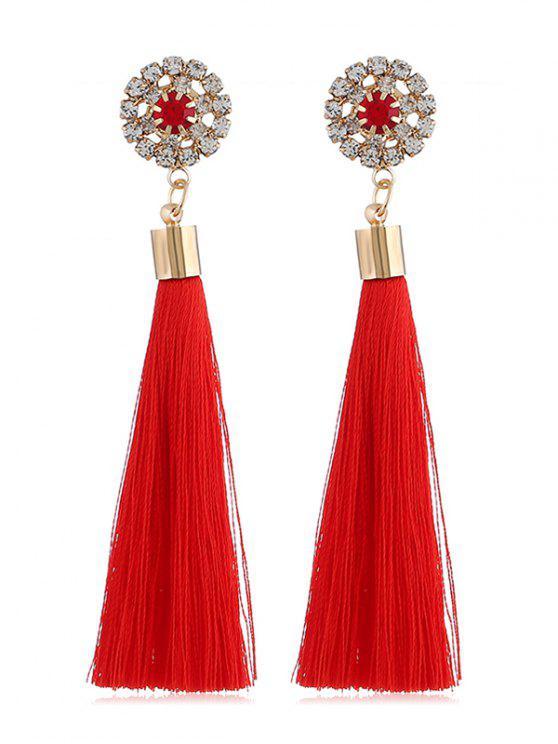 women Sparkly Rhinestone Long Tassel Elegant Earrings - RED