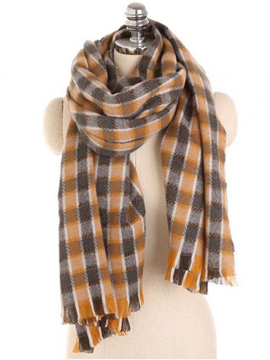 Écharpe d'hiver à franges à motif à carreaux - Cannelle