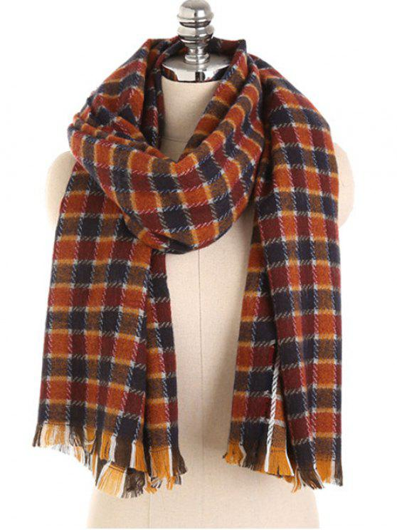 latest Checked Pattern Fringed Winter Scarf - BLOOD RED