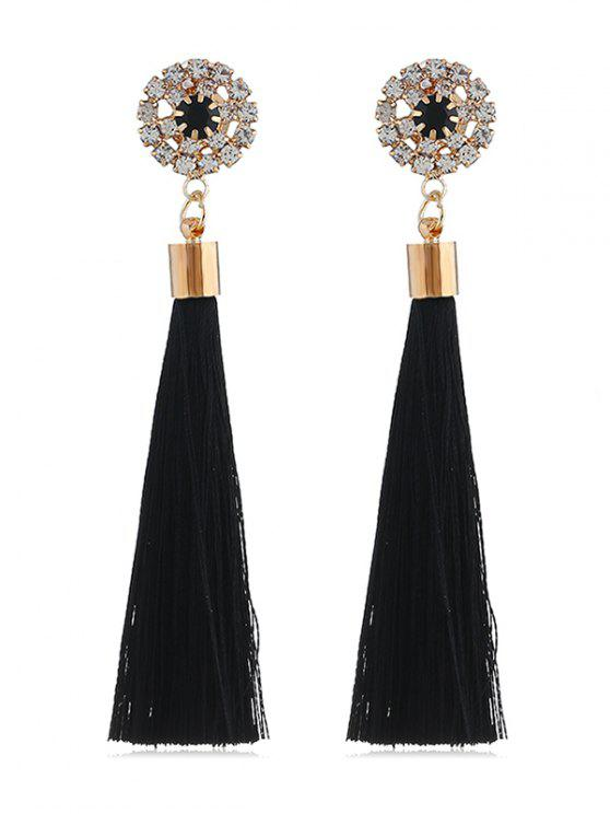 Women S Sparkly Rhinestone Long Tel Elegant Earrings Black