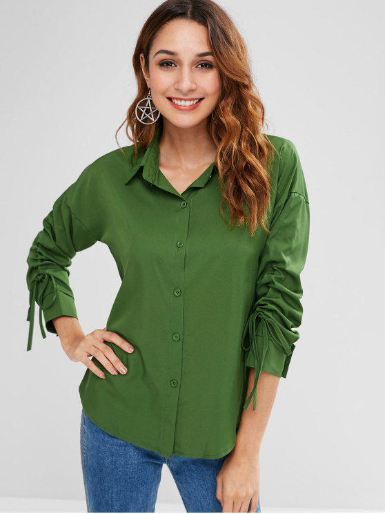 womens Candy Color Drawstring Sleeve Shirt - PINE GREEN XL