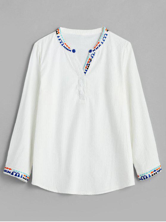 fashion Embroidered Trim V Neck Blouse - WHITE M