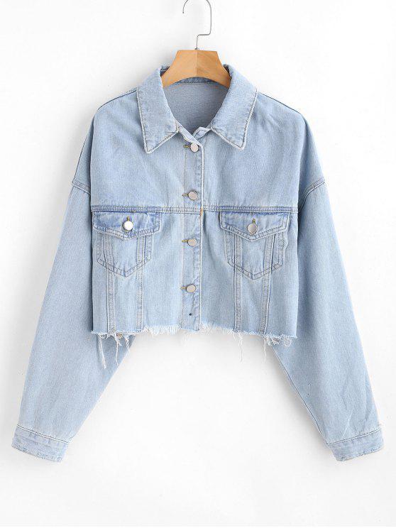women Frayed Crop Denim Jacket - LIGHT SKY BLUE M