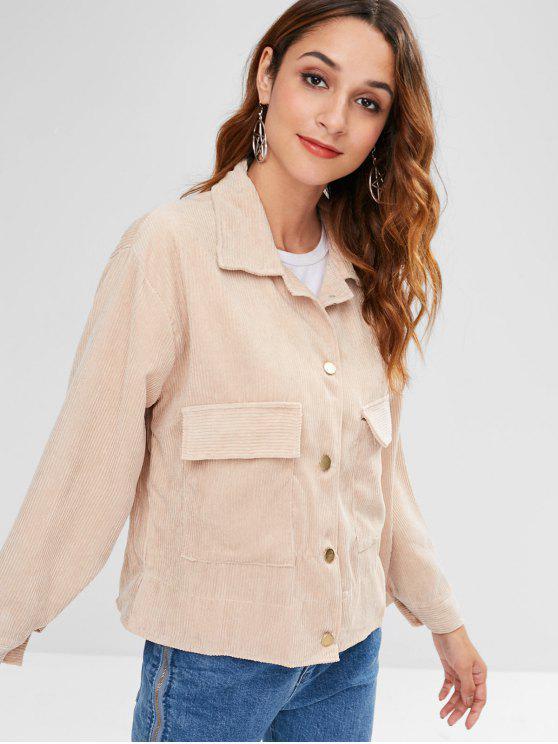 fashion Pocket Drop Shoulder Jacket - LIGHT KHAKI ONE SIZE