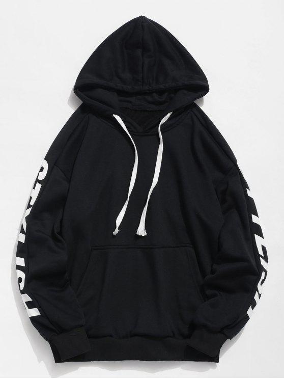 Hoodie à moda lateral do bolso da letra - Preto 3XL