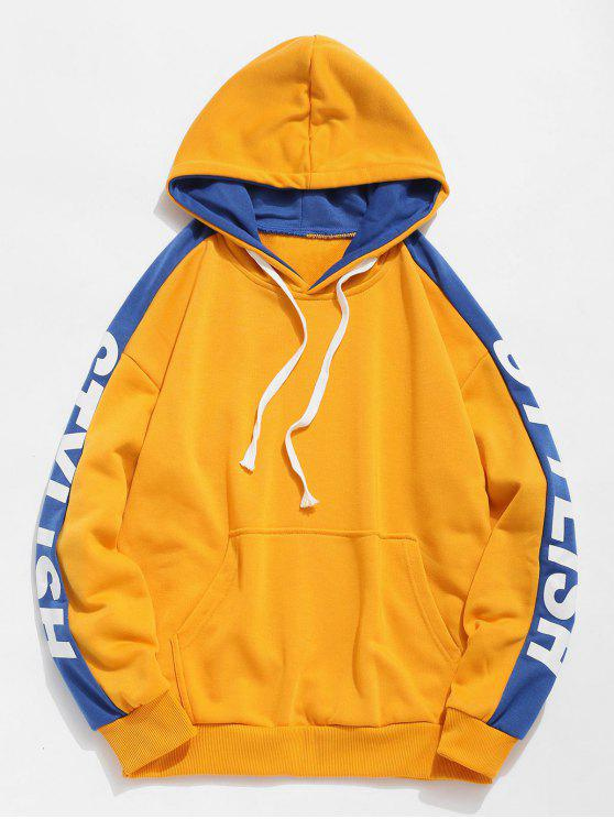 sale Side Stylish Letter Pocket Hoodie - YELLOW XL