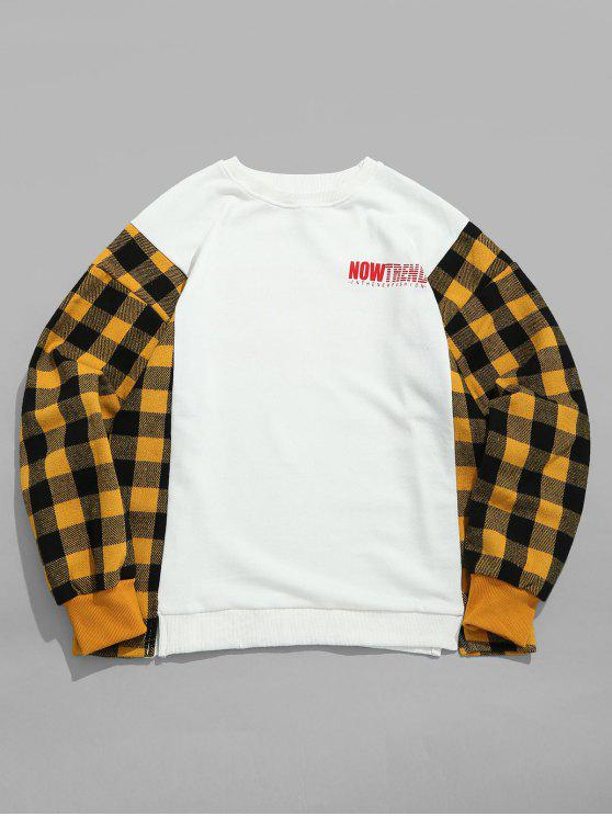 cf2f2fe73ce3 22% OFF  2019 Letter Graphic Plaid Patchwork Sweatshirt In YELLOW ...