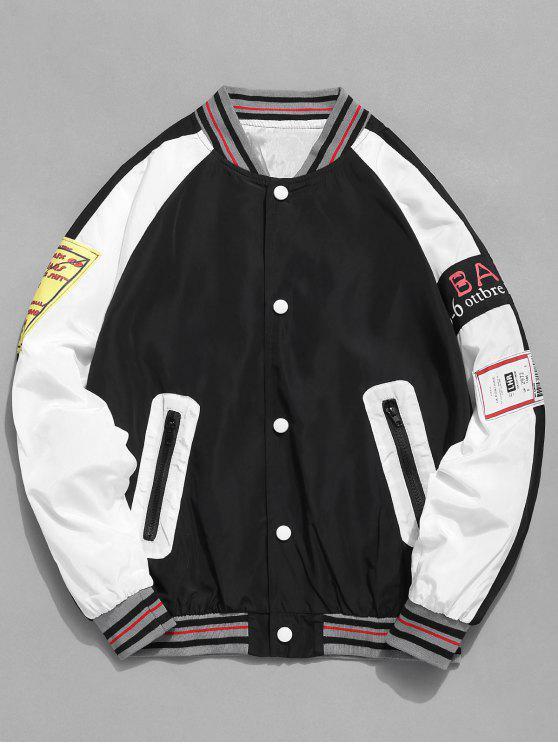 Contraste Patch Baseball Jacket - Preto S