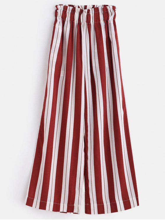 Calça de perna larga de cintura alta listra - Cor de Tijolo Refratário L