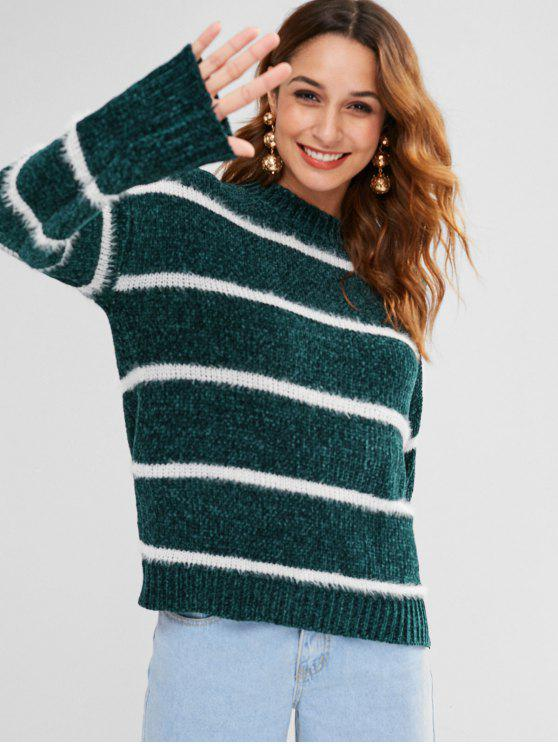 hot Drop Shoulder Striped Loose Sweater - MEDIUM SEA GREEN ONE SIZE