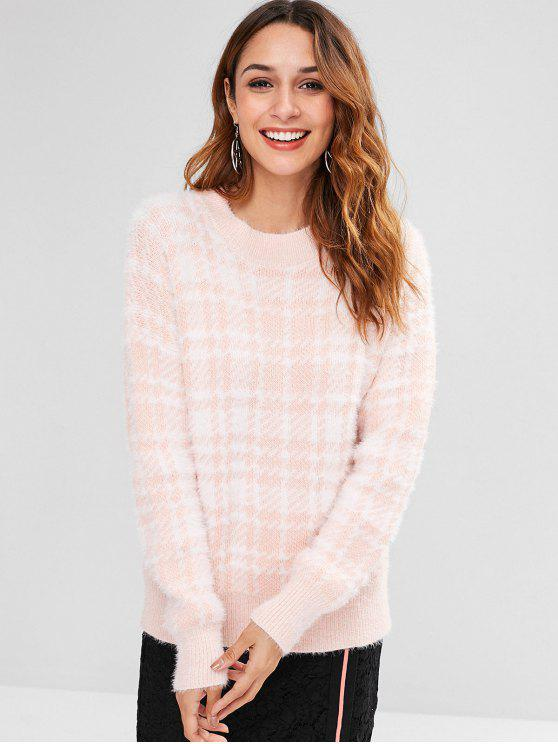 outfit Round Neck Fleece Checked Sweater - MULTI ONE SIZE