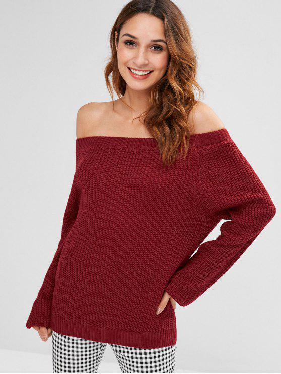 latest Off Shoulder Raglan Sleeve Sweater - RED WINE ONE SIZE
