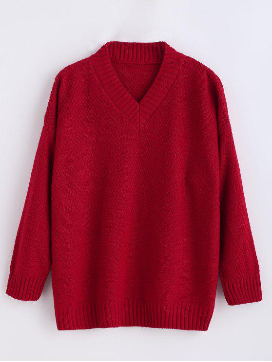 trendy Tunic V Neck Drop Shoulder Sweater - RED ONE SIZE