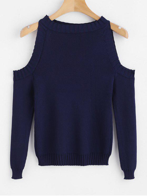 Camisola de malha fina de ombro a frio - Azul da Meia Noite Tamanho único