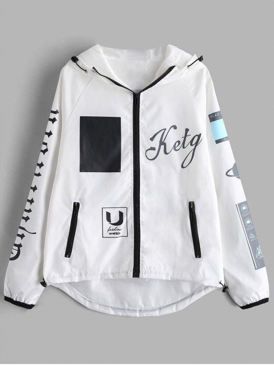 Com capuz zip up impresso jaqueta - Branco XL