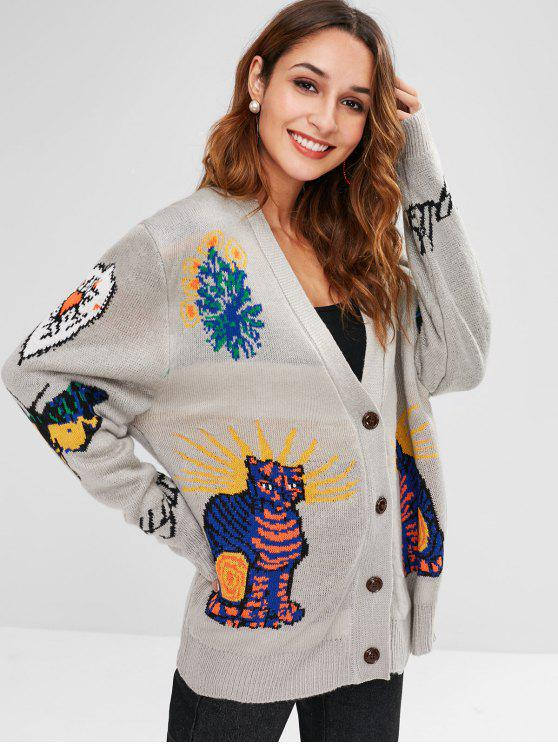 womens Abstract Pattern Design Buttoned Cardigan - MULTI ONE SIZE