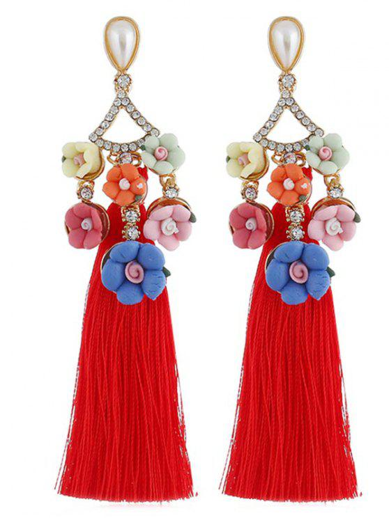 shops Floral Rhinestone Long Tassel Earrings - RED