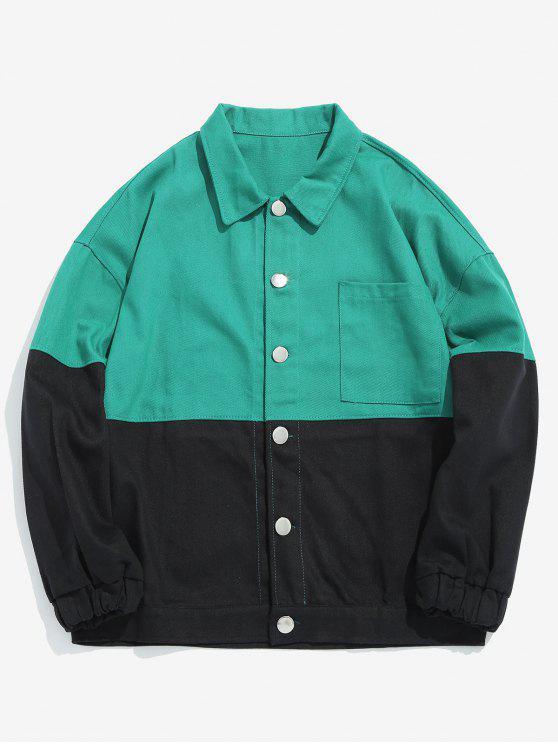 Gato dos desenhos animados impresso jaqueta de bloco de cor - Verde de Mar  2XL