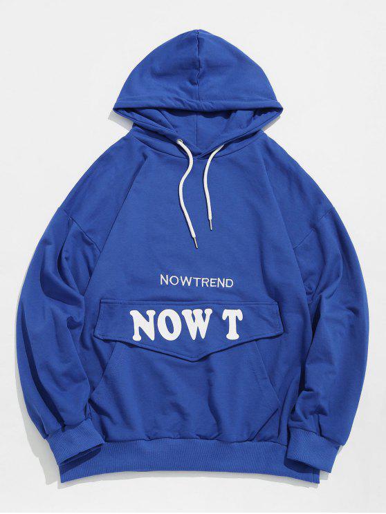 Hoodie à moda da letra dos retalhos do bolso - Azul L