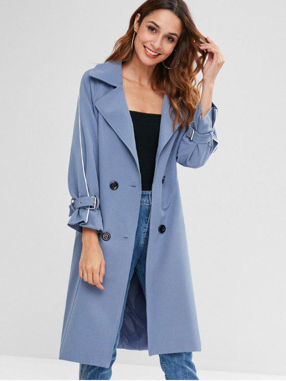 Casaco de Treliça com Bolso e Manga Raglan - Seda de Azul S