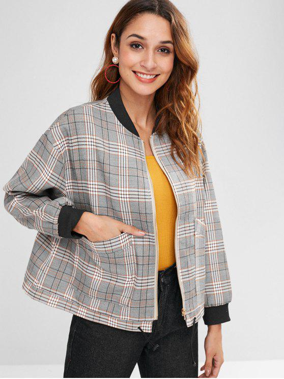 trendy Plaid Drop Shoulder Zipper Jacket - MULTI ONE SIZE
