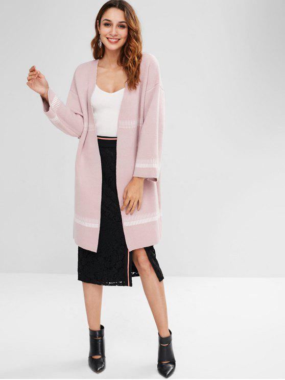 fashion Stripes and Pockets Embellished Long Cardigan - PINK ONE SIZE