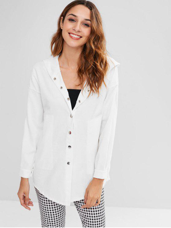 ladies High Low Drop Shoulder Longline Coat - WHITE ONE SIZE