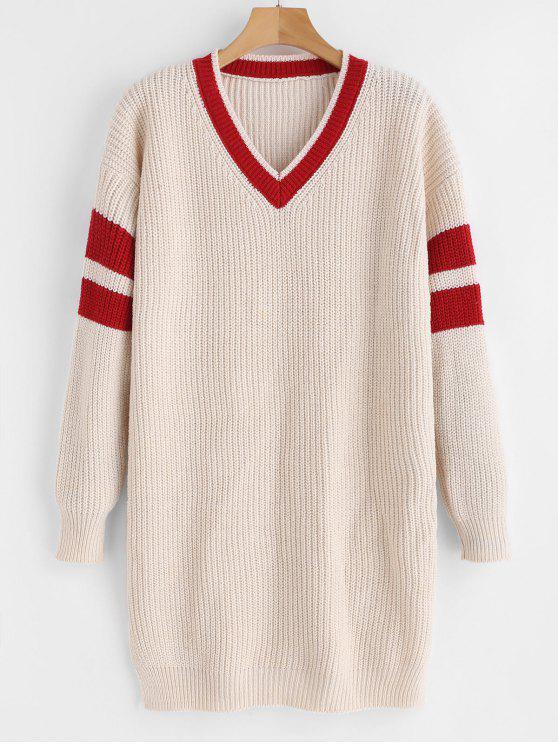 women Striped Long Sleeve Sweater Dress - APRICOT ONE SIZE