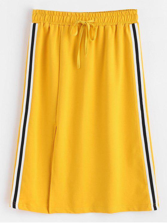 Side Striped Slit Midi Sweat Skirt - الأصفر M